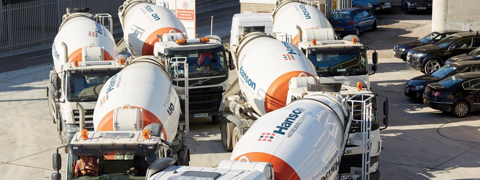 Hanson readymixed concrete trucks.