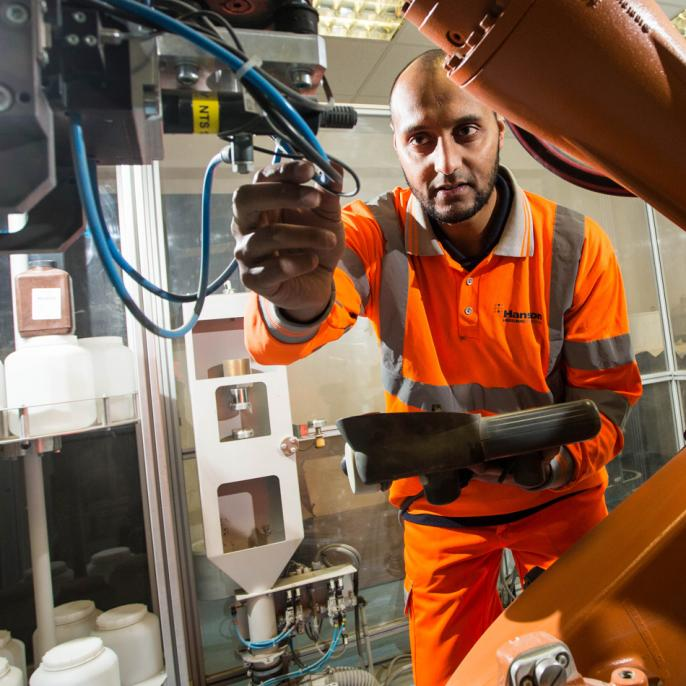 Quality technician Rasheed Firfire examining samples..